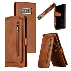 Multifunction 9 Cards Leather Zipper Wallet Phone Case for Samsung Galaxy Note 8 - Brown