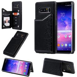 Yikatu Luxury Cute Cats Multifunction Magnetic Card Slots Stand Leather Back Cover for Samsung Galaxy Note 8 - Black