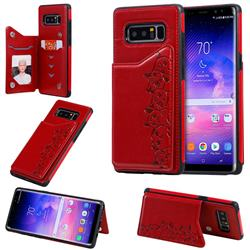 Yikatu Luxury Cute Cats Multifunction Magnetic Card Slots Stand Leather Back Cover for Samsung Galaxy Note 8 - Red