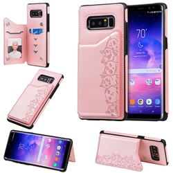 Yikatu Luxury Cute Cats Multifunction Magnetic Card Slots Stand Leather Back Cover for Samsung Galaxy Note 8 - Rose Gold