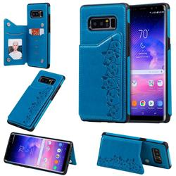 Yikatu Luxury Cute Cats Multifunction Magnetic Card Slots Stand Leather Back Cover for Samsung Galaxy Note 8 - Blue