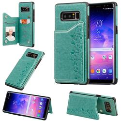 Yikatu Luxury Cute Cats Multifunction Magnetic Card Slots Stand Leather Back Cover for Samsung Galaxy Note 8 - Green