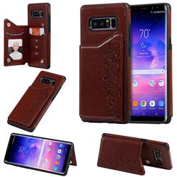 Yikatu Luxury Cute Cats Multifunction Magnetic Card Slots Stand Leather Back Cover for Samsung Galaxy Note 8 - Brown
