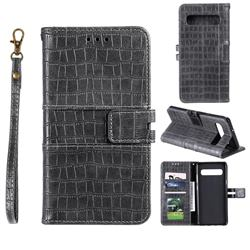 Luxury Crocodile Magnetic Leather Wallet Phone Case for Samsung Galaxy Note 8 - Gray