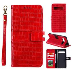 Luxury Crocodile Magnetic Leather Wallet Phone Case for Samsung Galaxy Note 8 - Red