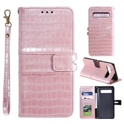 Luxury Crocodile Magnetic Leather Wallet Phone Case for Samsung Galaxy Note 8 - Rose Gold