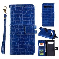 Luxury Crocodile Magnetic Leather Wallet Phone Case for Samsung Galaxy Note 8 - Blue