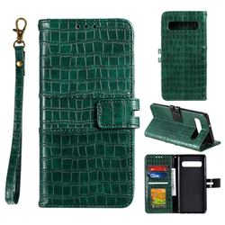 Luxury Crocodile Magnetic Leather Wallet Phone Case for Samsung Galaxy Note 8 - Green