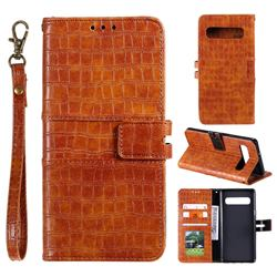 Luxury Crocodile Magnetic Leather Wallet Phone Case for Samsung Galaxy Note 8 - Brown