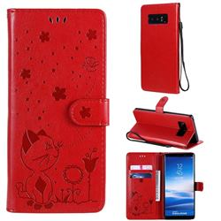 Embossing Bee and Cat Leather Wallet Case for Samsung Galaxy Note 8 - Red