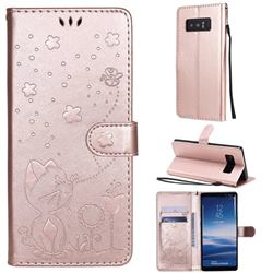 Embossing Bee and Cat Leather Wallet Case for Samsung Galaxy Note 8 - Rose Gold