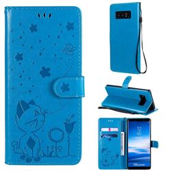 Embossing Bee and Cat Leather Wallet Case for Samsung Galaxy Note 8 - Blue