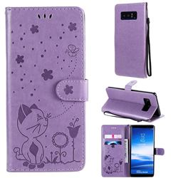 Embossing Bee and Cat Leather Wallet Case for Samsung Galaxy Note 8 - Purple