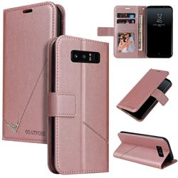 GQ.UTROBE Right Angle Silver Pendant Leather Wallet Phone Case for Samsung Galaxy Note 8 - Rose Gold