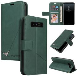 GQ.UTROBE Right Angle Silver Pendant Leather Wallet Phone Case for Samsung Galaxy Note 8 - Green