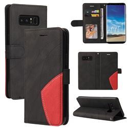 Luxury Two-color Stitching Leather Wallet Case Cover for Samsung Galaxy Note 8 - Black
