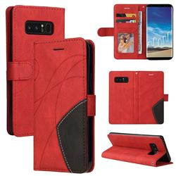 Luxury Two-color Stitching Leather Wallet Case Cover for Samsung Galaxy Note 8 - Red