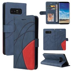 Luxury Two-color Stitching Leather Wallet Case Cover for Samsung Galaxy Note 8 - Blue