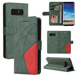 Luxury Two-color Stitching Leather Wallet Case Cover for Samsung Galaxy Note 8 - Green