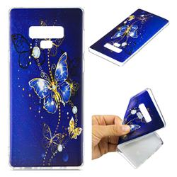 Gold and Blue Butterfly Super Clear Soft TPU Back Cover for Samsung Galaxy Note9