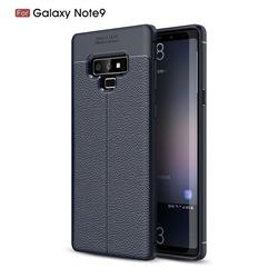 Luxury Auto Focus Litchi Texture Silicone TPU Back Cover for Samsung Galaxy Note9 - Dark Blue