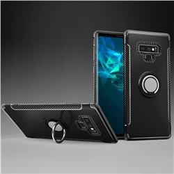 Armor Anti Drop Carbon PC + Silicon Invisible Ring Holder Phone Case for Samsung Galaxy Note9 - Black