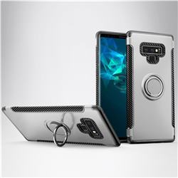 Armor Anti Drop Carbon PC + Silicon Invisible Ring Holder Phone Case for Samsung Galaxy Note9 - Silver