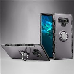Armor Anti Drop Carbon PC + Silicon Invisible Ring Holder Phone Case for Samsung Galaxy Note9 - Grey