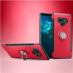 Armor Anti Drop Carbon PC + Silicon Invisible Ring Holder Phone Case for Samsung Galaxy Note9 - Red