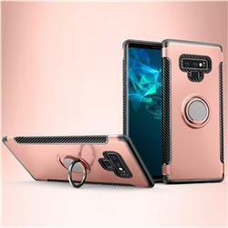 Armor Anti Drop Carbon PC + Silicon Invisible Ring Holder Phone Case for Samsung Galaxy Note9 - Rose Gold