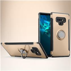 Armor Anti Drop Carbon PC + Silicon Invisible Ring Holder Phone Case for Samsung Galaxy Note9 - Champagne