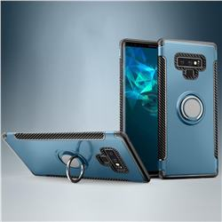 Armor Anti Drop Carbon PC + Silicon Invisible Ring Holder Phone Case for Samsung Galaxy Note9 - Navy