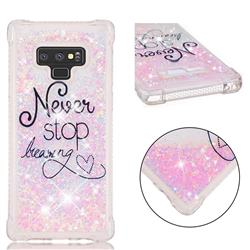 Never Stop Dreaming Dynamic Liquid Glitter Sand Quicksand Star TPU Case for Samsung Galaxy Note9