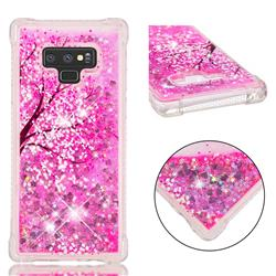 Pink Cherry Blossom Dynamic Liquid Glitter Sand Quicksand Star TPU Case for Samsung Galaxy Note9