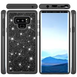Glitter Rhinestone Bling Shock Absorbing Hybrid Defender Rugged Phone Case Cover for Samsung Galaxy Note9 - Black