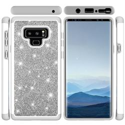 Glitter Rhinestone Bling Shock Absorbing Hybrid Defender Rugged Phone Case Cover for Samsung Galaxy Note9 - Gray