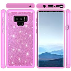 Glitter Rhinestone Bling Shock Absorbing Hybrid Defender Rugged Phone Case Cover for Samsung Galaxy Note9 - Pink