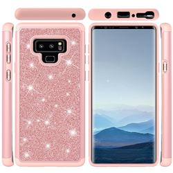 Glitter Rhinestone Bling Shock Absorbing Hybrid Defender Rugged Phone Case Cover for Samsung Galaxy Note9 - Rose Gold