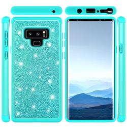 Glitter Rhinestone Bling Shock Absorbing Hybrid Defender Rugged Phone Case Cover for Samsung Galaxy Note9 - Green