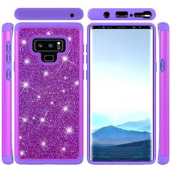 Glitter Rhinestone Bling Shock Absorbing Hybrid Defender Rugged Phone Case Cover for Samsung Galaxy Note9 - Purple