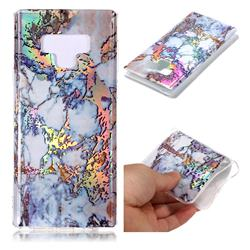 Gold Plating Marble Pattern Bright Color Laser Soft TPU Case for Samsung Galaxy Note9