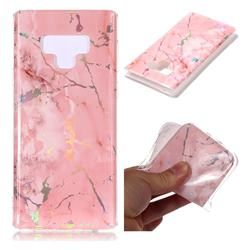 Powder Pink Marble Pattern Bright Color Laser Soft TPU Case for Samsung Galaxy Note9