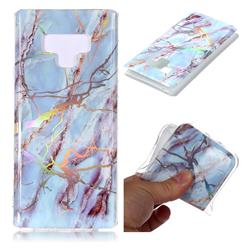 Light Blue Marble Pattern Bright Color Laser Soft TPU Case for Samsung Galaxy Note9