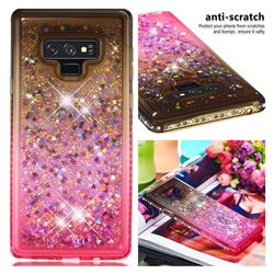 Diamond Frame Liquid Glitter Quicksand Sequins Phone Case for Samsung Galaxy Note9 - Gray Pink