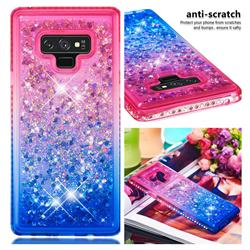 Diamond Frame Liquid Glitter Quicksand Sequins Phone Case for Samsung Galaxy Note9 - Pink Blue