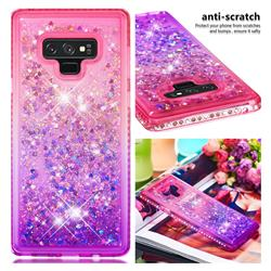 Diamond Frame Liquid Glitter Quicksand Sequins Phone Case for Samsung Galaxy Note9 - Pink Purple