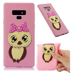 Bowknot Girl Owl Soft 3D Silicone Case for Samsung Galaxy Note9 - Pink