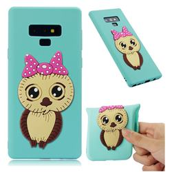 Bowknot Girl Owl Soft 3D Silicone Case for Samsung Galaxy Note9 - Sky Blue
