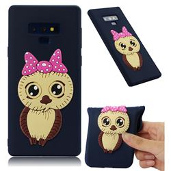 Bowknot Girl Owl Soft 3D Silicone Case for Samsung Galaxy Note9 - Navy