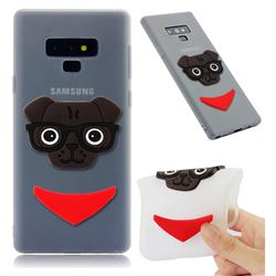 Glasses Dog Soft 3D Silicone Case for Samsung Galaxy Note9 - Translucent White
